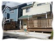 ウッドデッキとテラス・玄関アプローチと駐車場のリフォーム/京都市西京区